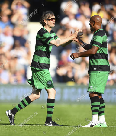 Jarvis Cocker of Team Shearer alongside Trevor Sinclair of Team Shearer