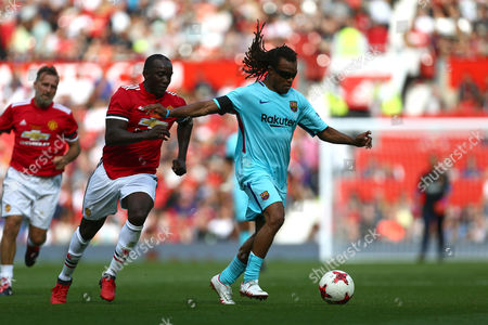 Stock Picture of Dwight Yorke of Manchester United and Edgar Davids of Barcelona