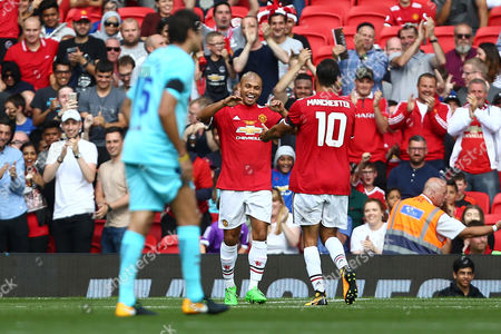 Stock Image of Danny Webber of Manchester United celebrates scoring his sides second goal