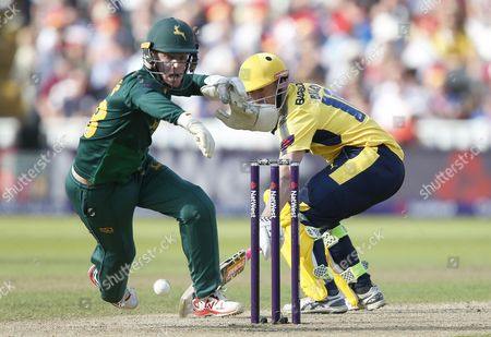 Notts Outlaws Tom Moores misses a stumping chance of  Hampshires George Bailey