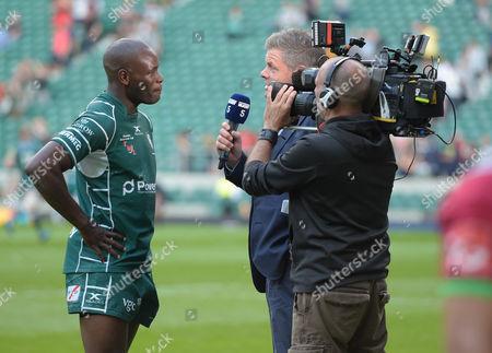 Topsy Ojo of London Irish is interviewed by Channel 5