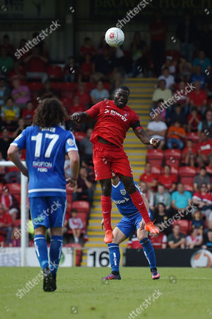 George Elokobi of Leyton Orient heads away during the Vanarama Conference National League match between Leyton Orient and Guiseley AFC at The Matchroom Stadium, Leyton, London on September 2.