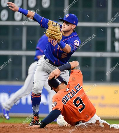 Stock Picture of Marwin Gonzalez, Gavin Cecchini Houston Astros' Marwin Gonzalez (9) steals second as New York Mets second baseman Gavin Cecchini waits for the throw during the second inning of the second game of a baseball doubleheader, in Houston
