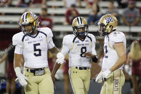 Edward Vander, Chris Murray, Noah James Montana State running back Edward Vander (5), quarterback Chris Murray (8) and running back Noah James (22) walk on the field during the second half of an NCAA college football game against Washington State in Pullman, Wash