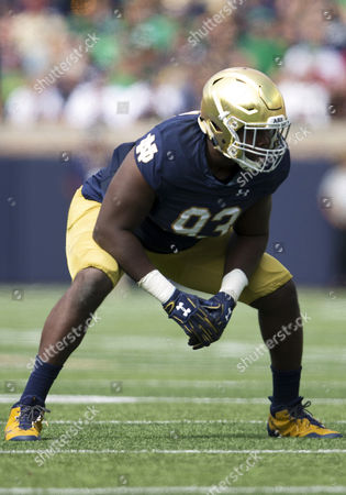 Notre Dame defensive lineman Jay Hayes (93) during NCAA football game action between the Temple Owls and the Notre Dame Fighting Irish at Notre Dame Stadium in South Bend, Indiana. Notre Dame defeated Temple 49-16