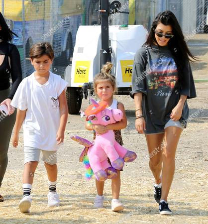 Stock Image of Kourtney Kardashian, Penelope Disick, Mason Disick