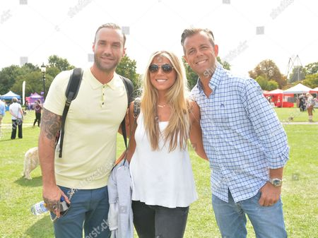 left to right: Calum Best, Charlotte Sharp and her dad, Pat Sharp