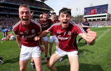 Cork vs Galway. Galway?s Mark Gill celebrates after the game with Ronan Glennon