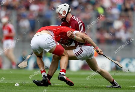 Cork vs Galway. Cork?s Brian Turnbull with Darren Morrissey of Galway