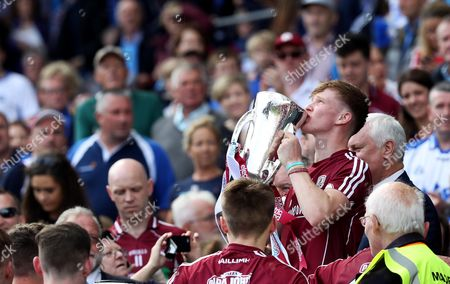 Cork vs Galway. Galway?s Darren Morrissey lifts the trophy