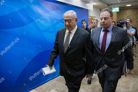 Stock Picture of Benjamin Netanyahu, Yoav Horowitz Israeli Prime Minister Benjamin Netanyahu, left, and and his advisor, Yoav Horowitz, arrive for the weekly cabinet meeting at his office in Jerusalem