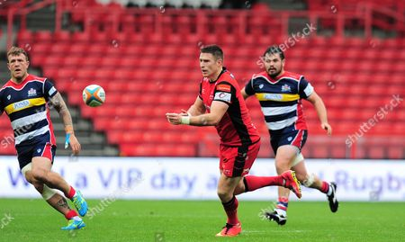 Steve Leonard of Hartpury passes during the Greene King Championship match between Bristol Rugby and Hartpury at Ashton Gate on September 3, 2017 in Bristol, England. (Photo by Alex Davidson/PPAUK)