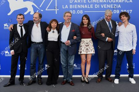 Director Robert Guediguian, Ariane Ascaride, Jean-Pierre Darroussin, Gerard Meylan, Jacques Boudet, Anais Demoustier, Robinson Stevenin and Yann Tregouet