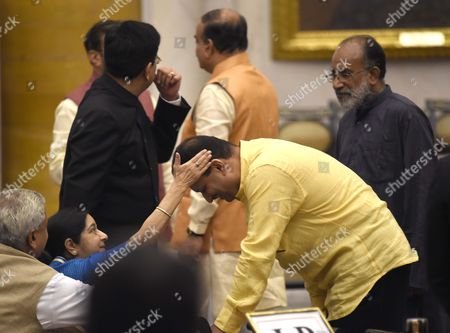 Stock Photo of Anant Kumar Hegde taking blessing from Union Minister for External Affairs Sushma swaraj before taking oath as a minister of state at Rashtrapati Bhavan