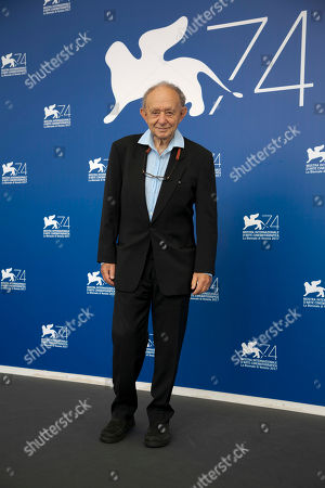 """Director Frederick Wiseman poses during the photo call of the film """"Ex Libris - The New York Public Library"""" at the 74th Venice Film Festival in Venice, Italy"""