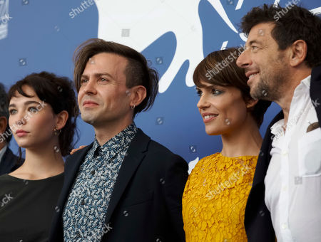 "Sebastiano Riso, Micaela Ramazzotti, Patrick Bruel, Matilda De Angelis From left, actress Matilda De Angelis, director Sebastiano Riso, and actors Micaela Ramazzotti and Patrick Bruel pose during the photo call of the film ""Una Famiglia"" (A Family) at the 74th Venice Film Festival in Venice, Italy"
