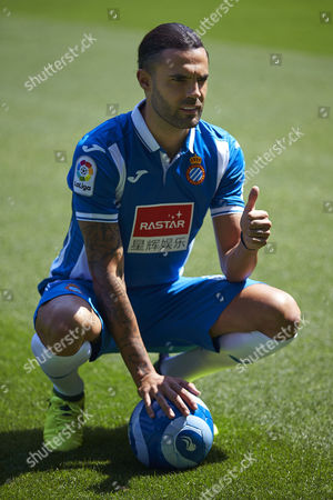 RCD Espanyol's new defender Sergio Sanchez poses during his presentation at the Stadium Cornella-El Prat, in Cornella, near Barcelona, Spain, on 04 September 2017. Sanchez will play with RCD Espanyol on loan by FC Rubin Kazan.
