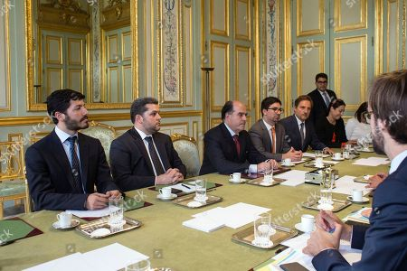 "Venezuelan leading opposition activist, Roberto Patino, left, President of the Venezuelan parliament, Julio Borges, third from left, and vice president of the Venezuelan parliament, Freddy Guevara, fourth from left, attend a meeting with France's President Emmanuel Macron, at the Elysee Palace, in Paris, . Macron, who recently called Venezuelan President Nicolas Maduro's leadership a ""dictatorship,"" denounced the move and said Saturday on Twitter: ""We are waiting for Lilian Tintori in Europe. The Venezuelan opposition must remain free"