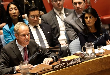 US Ambassador to the United Nations Nikki Haley (R) listens to UK Ambassador to the United Nations  Matthew Rycroft address the Security Council on the situation in North Korea at United Nations headquarters in New York, New York, USA, 04 September 2017.