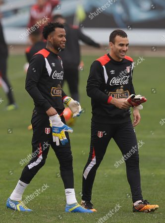 Carlos Caceda, Jose Carvallo Goalkeepers Carlos Caceda, left, and Jose Carvallo train in Lima, Peru, . Peru will face Ecuador in a World Cup qualifying soccer game in Quito on Sept. 5