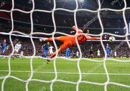 Marcus Rashford (C) of England sees his shot go past Martin Dubravka of Slovakia to win the game. World Cup Qualifying Group F match between England v Slovakia, played at Wembley Stadium, London on 4 Sep 2017