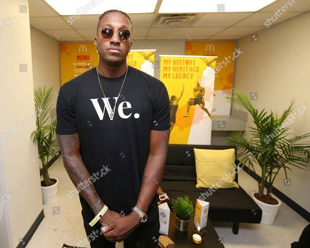 Singer Lecrae is seen in the McDonald's Green Room at the 2017 Luda Day Weekend Basketball Game at Morehouse Forbes Arena, in Atlanta, GA