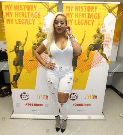 Stock Image of TV personality Malaysia Pargo is seen in the McDonald's Green Room at the 2017 Luda Day Weekend Basketball Game at Morehouse Forbes Arena, in Atlanta, GA