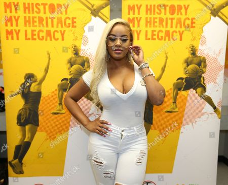 Stock Picture of TV personality Malaysia Pargo is seen in the McDonald's Green Room at the 2017 Luda Day Weekend Basketball Game at Morehouse Forbes Arena, in Atlanta, GA