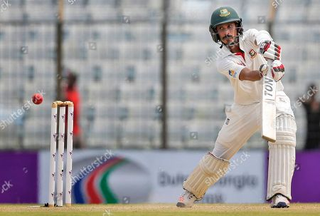Bangladesh's Nasir Hossain plays a shot during the second day of the second test cricket match against Australia in Chittagong, Bangladesh