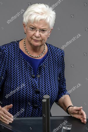 Gerda Hasselfeldt, deputy chairperson of the CDU/CSU parliamentary group and chairwoman of the Bundestag group of Christian Social Union (CSU) parliamentarians, delivers a speech during a session of the German Bundestag in Berlin, Germany, 05 September 2017. The German lower house, the Bundestag convenes for its last session of the current legislative period before the next general elections held on 24 September. The session's agenda is topped by a debate on the state of the nation including the government's and the opposition's works.