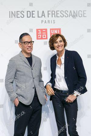 (L to R) Uniqlo Creative Director Naoki Takizawa and fashion designer Ines de la Fressange, pose for the cameras during a media event for Uniqlo x Ines de la Fressange AW17 collection,