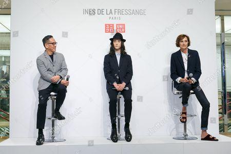 (L to R) Uniqlo Creative Director Naoki Takizawa, fashion model Louis Kurihara, and French model and fashion designer Ines de la Fressange, attend a media event for Uniqlo x Ines de la Fressange AW17 collection,
