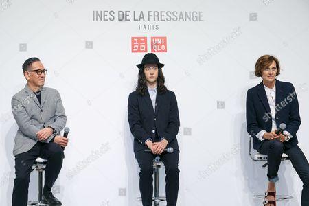 Stock Photo of (L to R) Uniqlo Creative Director Naoki Takizawa, fashion model Louis Kurihara, and French model and fashion designer Ines de la Fressange, attend a media event for Uniqlo x Ines de la Fressange AW17 collection,