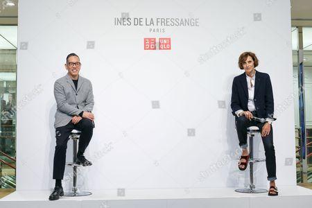 Stock Picture of (L to R) Uniqlo Creative Director Naoki Takizawa and fashion designer Ines de la Fressange, attend a media event for Uniqlo x Ines de la Fressange AW17 collection,