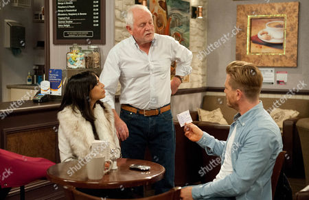 Ep 7310 Monday 5 October 2015 David Metcalfe, as played by Matthew Wolfenden, clears the trashed shop as Priya Sharma, as played by Fiona Wade, urges him to stand his ground with Pollard, but he insists his dad died when Val did. Later in the cafe, Pollard, as played by Christopher Chittell, gives David a cheque for the damage to the shop, David's shocked by the amount, but Pollard insists it will be enough to ensure their paths don't ever have to cross again, but is that really what he wants?