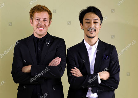 """Stock Image of Igarashi Kohei, Damien Manivel. Directors Igarashi Kohei, right, and Damien Manivel pose for portraits for the film """"The Night I Swam"""" at the 74th Venice Film Festival in Venice, Italy"""