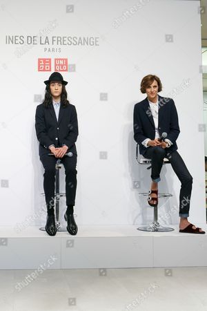 Stock Image of (L to R) Fashion model Louis Kurihara and French model and fashion designer Ines de la Fressange, attend a media event for Uniqlo x Ines de la Fressange AW17 collection