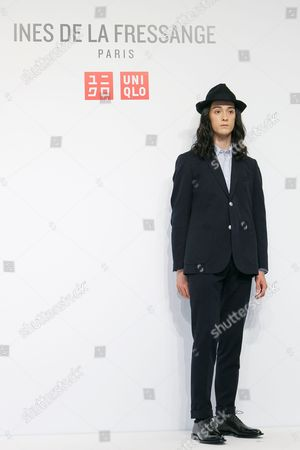 Fashion model Louis Kurihara poses for the cameras during a media event for Uniqlo x Ines de la Fressange AW17 collection