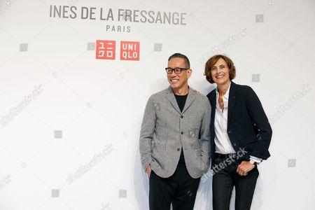 Stock Image of Uniqlo Creative Director Naoki Takizawa and fashion designer Ines de la Fressange