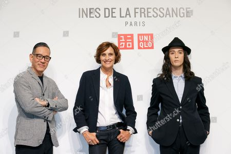 (L to R) Uniqlo Creative Director Naoki Takizawa, French model and fashion designer Ines de la Fressange and fashion model Louis Kurihara
