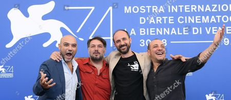 Italian film directors Ivan Cappiello, Marino Guarnieri, Alessandro Rak and Dario Sansone pose during a photocall for 'Gatta Cenerentola' at the 74th Venice Film Festival, in Venice, Italy, 05 September 2017. The movie is presented in the Orizzonti section at the festival running from 30 August to 09 September 2017.