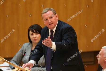 Monica Lennon, Alex Rowley, Deputy and acting Leader of the Scottish Labour Party, and James Kelly