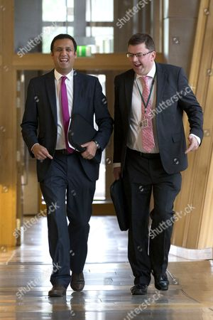 Stock Picture of Anas Sarwar, Scottish Labour Leader candidate, and Colin Smyth make their way to the Debating Chamber