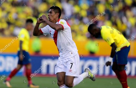 Peru's Paolo Hurtado celebrates his goal against Ecuador during a Russia 2018 WCup qualifier soccer match in Quito, Ecuador