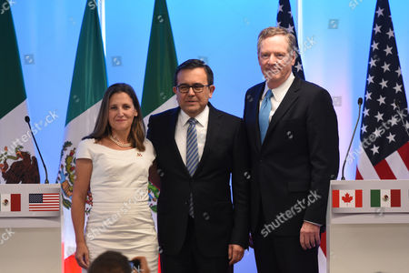 Minister of Foreign Affairs of Canada Chrystia Freeland, Mexico's Secretary of Economy Ildefonso Guajardo Villarreal and United States Trade Representative Robert Lighthizer