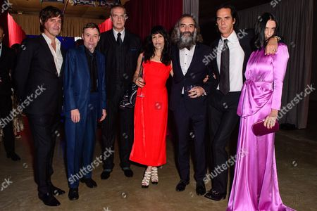 Stock Picture of George Vjestica, Thomas Wydler, Jim Sclavunos, Warren Ellis with his wife  Delphine Ciampi Ellis, Nick Cave with his wife Susie Bick