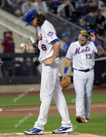 Jacob deGrom, Asdrubal Cabrera. New York Mets pitcher Jacob deGrom (48) and shortstop Asdrubal Cabrera (13) react as manager Terry Collins heads to the mound to take deGrom out of the baseball game during the fourth inning against the Philadelphia Phillies, at Citi Field in New York