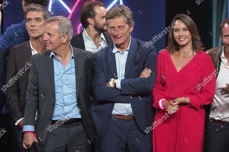 Bernard de la Villardiere, Chairman of the French TV channel M6 Nicolas de Tavernost and Julia Vignali