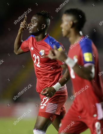 Panama's Abdiel Arroyo celebrates his goal against Trinidad and Tobago during a 2018 Russia World Cup qualifying soccer match in Panama City