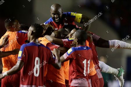 Panama's players celebrate a goal by Abdiel Arroyo during a 2018 Russia World Cup qualifying soccer match against Trinidad and Tobago in Panama City